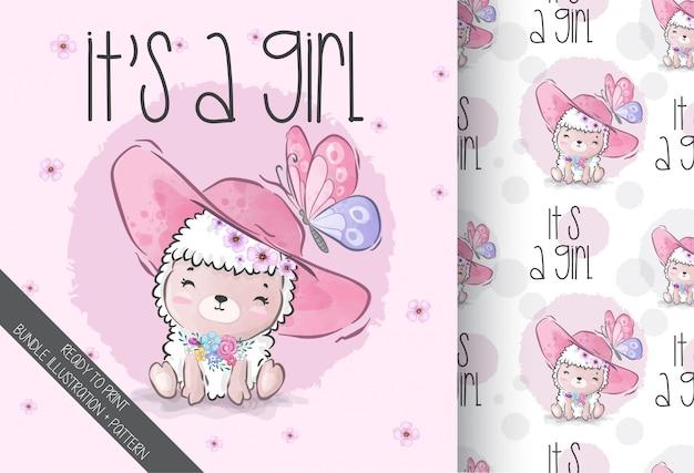 ピンクの帽子のシームレスなパターンを持つかわいい動物の赤ちゃん羊