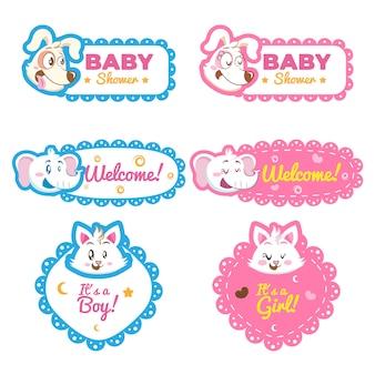 Cute animal baby shower theme invitation template