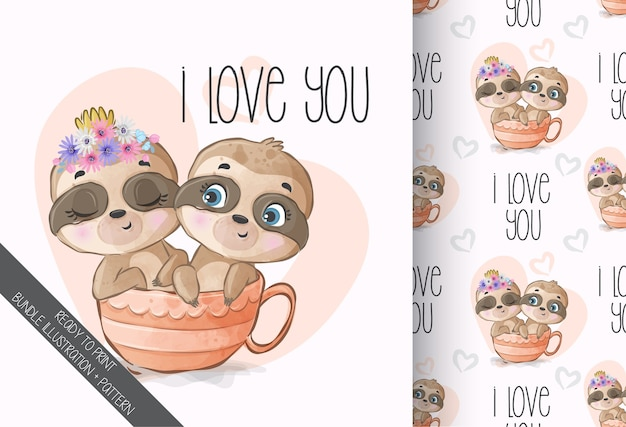 Cute animal baby sloth on the cup seamless pattern
