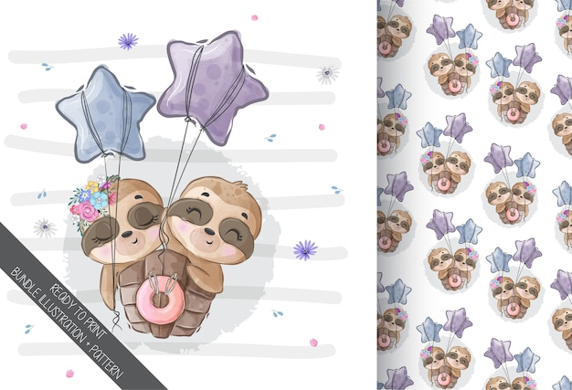 Cute animal baby sloth happy flying seamless pattern