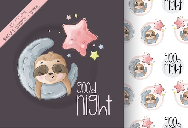 Cute animal baby sloth sleep on the moon seamless pattern