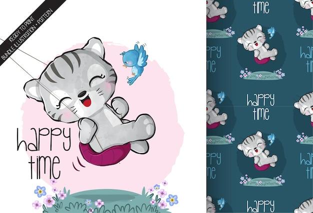 ブランコのシームレスなパターンでかわいい動物の赤ちゃんトラ