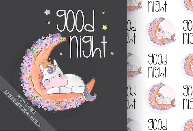 Cute animal baby unicorn sleeping on the moon with seamless pattern