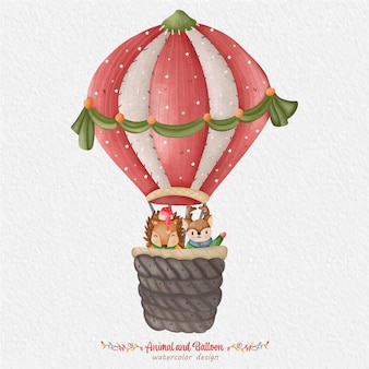 Cute animal and balloon watercolor illustration, with the paper background. for design, prints, fabric, or background