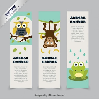 Cute animal banners template
