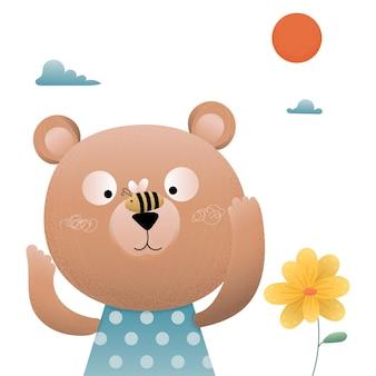 Cute animal bear with little bee.