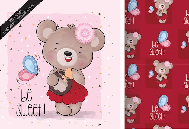 Cute animal beautiful bear with honey and butterfly seamless pattern and card