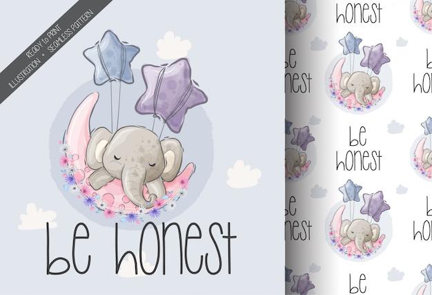 Милый слон большой мечты животных с бесшовный фон