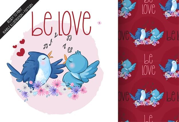 かわいい動物の鳥幸せな歌うシームレスパターン