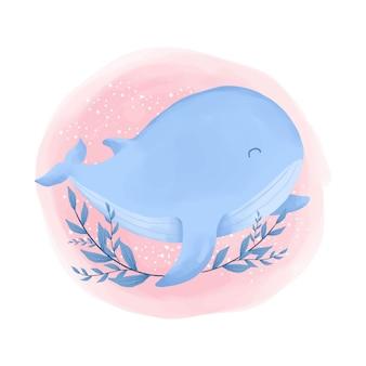 Симпатичные животные синий кит акварельные иллюстрации