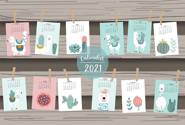 Cute animal calendar 2021 with llama, alpaca, cactus for children, kid, baby.