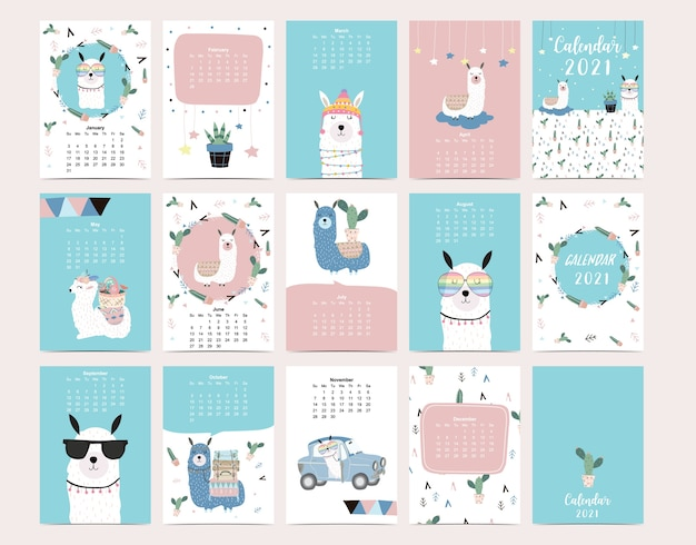 Cute animal calendar 2021 with llama, alpaca, cactus.