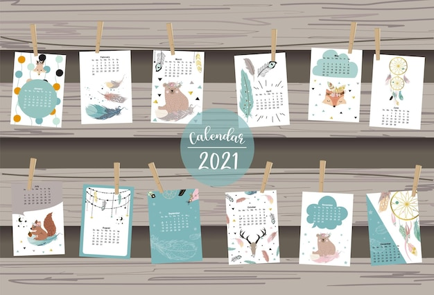 Cute animal calendar with bear, feather, dreamcatcher for children, kid, baby.