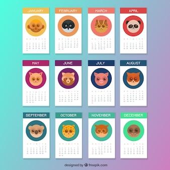 Cute animal calendar Free Vector