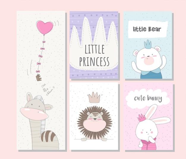 Cute animal card for kids
