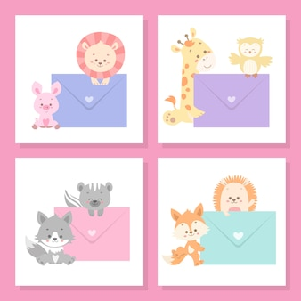 Cute animal card set