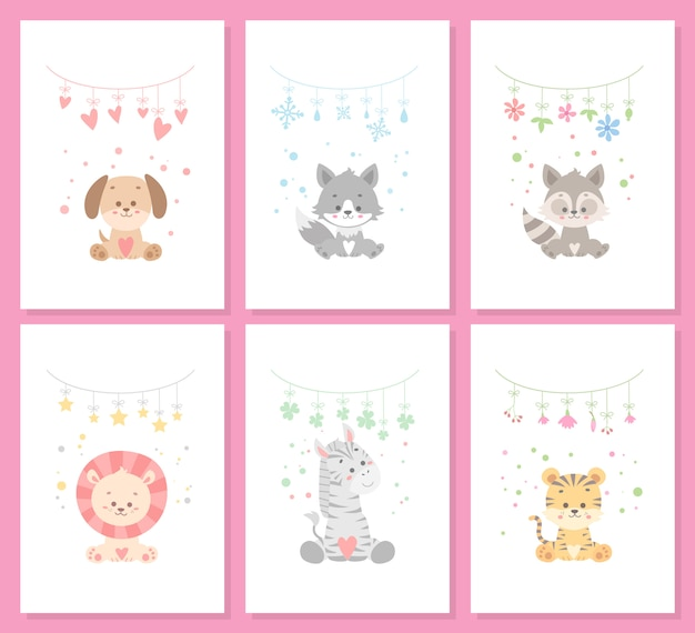 Cute animal card set