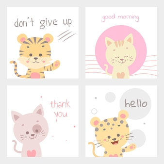 Cute animal card vector illustration isolated