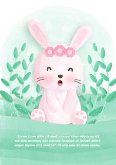 Cute animal card with rabbit bunny in water color style.