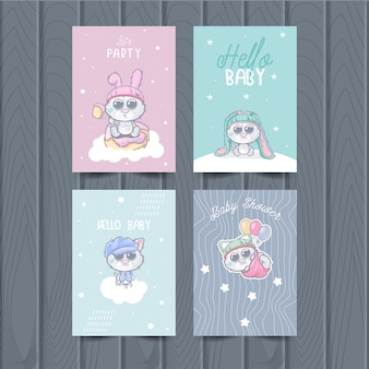 Cute animal cards for kids