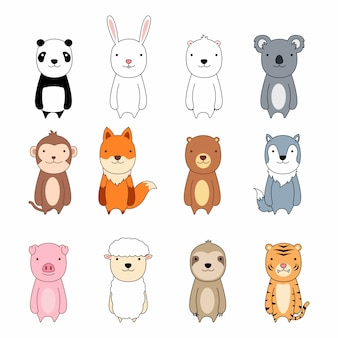 Cute animal cartoon character icon set