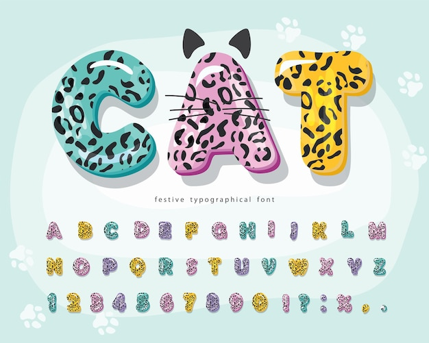 Cute animal cartoon font for kids funny jaguar skin alphabet Premium Vector