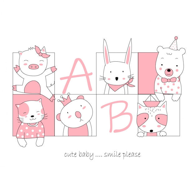 The cute animal cartoon in frame
