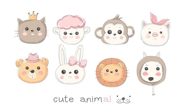 Cute animal cartoon hand drawn style