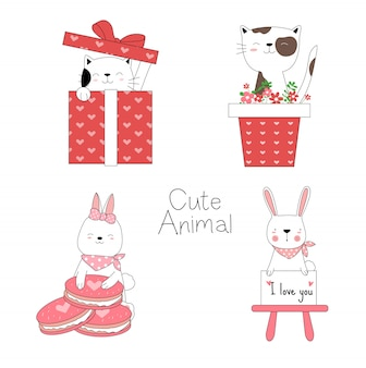 Cute animal cartoon hand drawn style