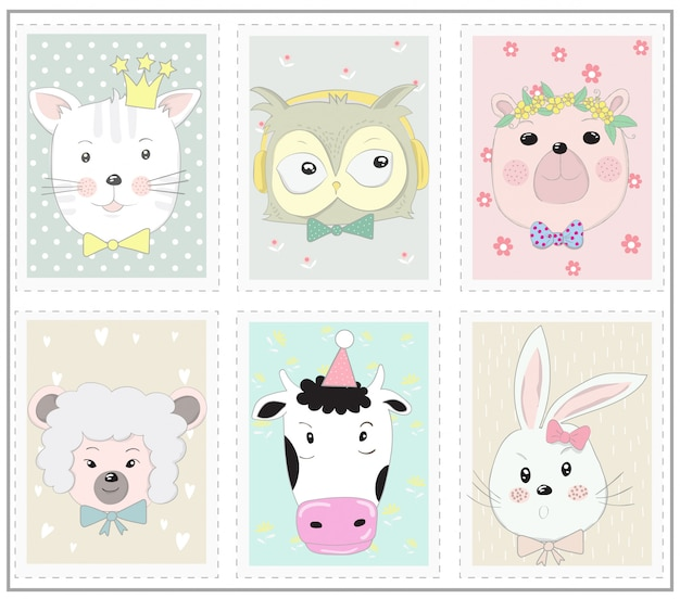The cute animal cartoon in picture frame