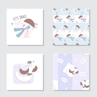 Cute animal cartoon set seamless pattern