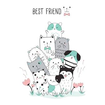 Cute animal cartoon sketch