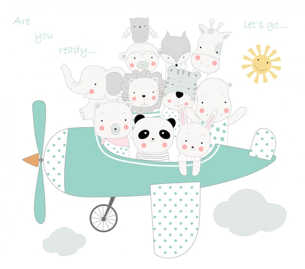 The cute animal cartoon with the plane to travel on holiday