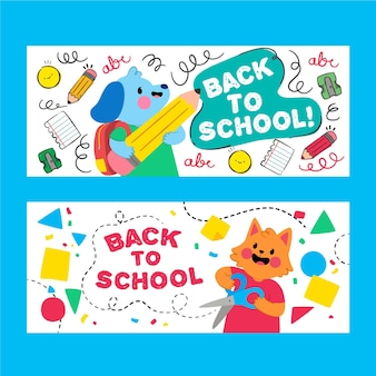 Cute animal cartoons back to school banner