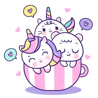 컵에 귀여운 동물 만화