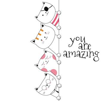 Cute animal cat cartoon hand drawn style