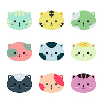Cute animal cats face hand drawn style.