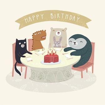 かわいい動物はお誕生日おめでとうイラストを祝う