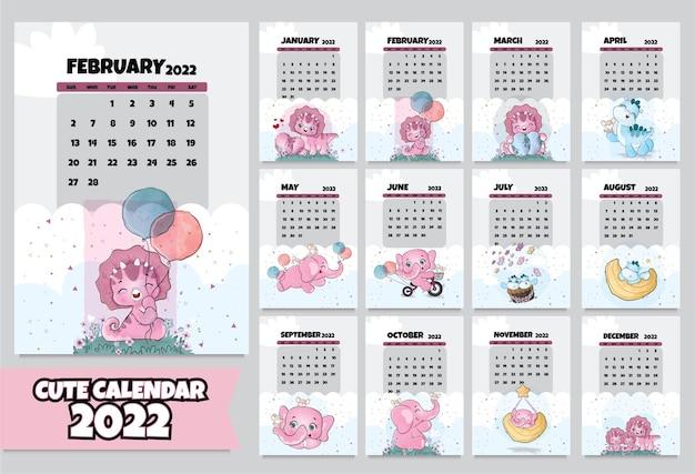 Cute animal  characters calendar for 2022  illustration calendar 2022