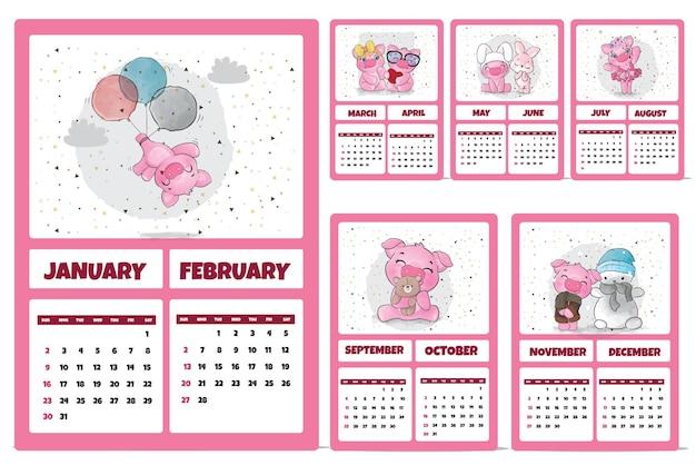2022年のかわいい動物キャラクターカレンダーイラストカレンダー2022年