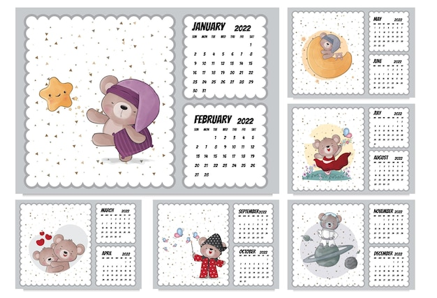 Календарь милых животных-персонажей на 2022 год. иллюстрация календарь на 2022 год.