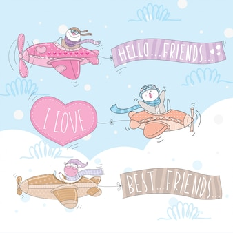Cute animal characters flying with an airplane