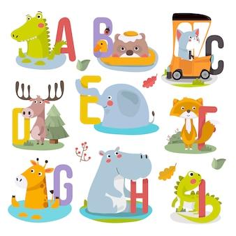 Cute animal childish alphabet vector illustration.