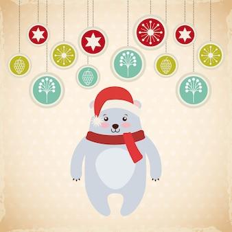 귀여운 동물 크리스마스 축하 카드