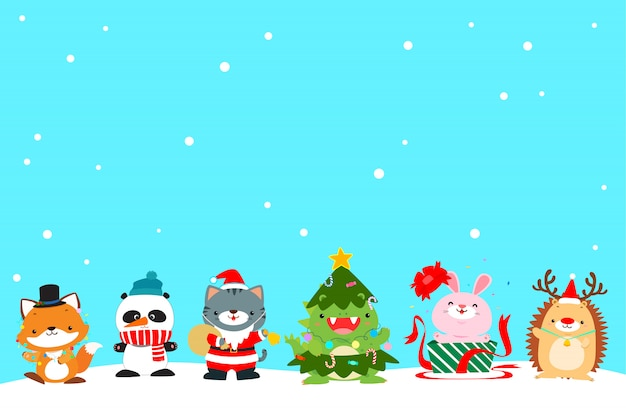 Cute animal christmas character background vector illustration.