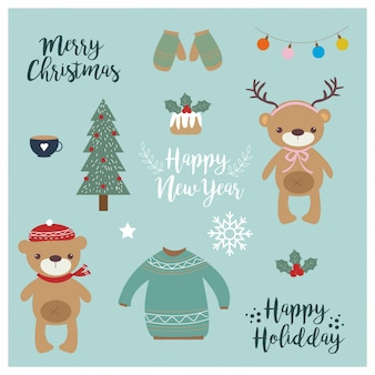 Cute animal and christmas elements