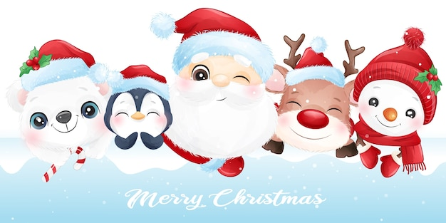 Cute  animal for christmas with watercolor banner