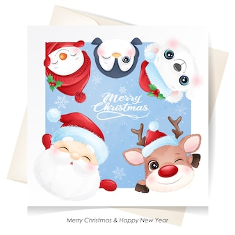 Cute  animal for christmas with watercolor card