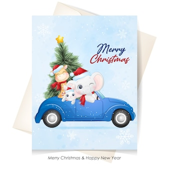 Cute  animal for christmas with watercolor illustration