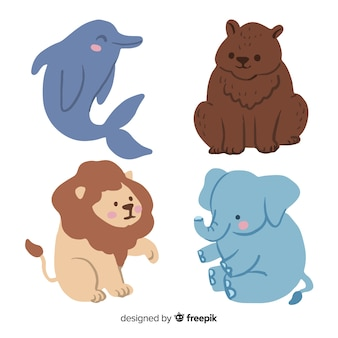 Cute animal collection cartoon design